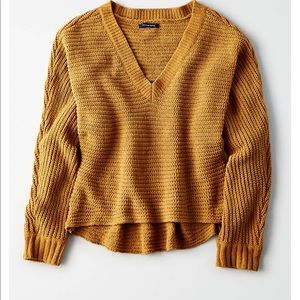 Mustard Chenille Cropped V-neck Sweater